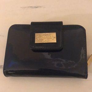 Nanette Lepore wallet navy gloss look